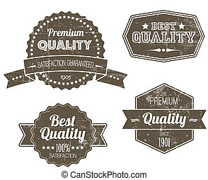 Old dark retro vintage grunge labels - premium quality