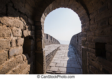 old dark stone tunnel inside great wall