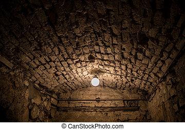 Old dark underground cellar - Abandoned empty old dark ...