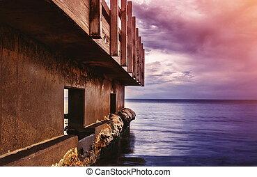 Old deck in the ocean