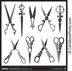 Old decorated scissors vector silhouettes