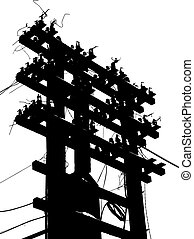 Old decrepit wooden telephone pole on white background. ...