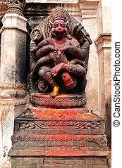 Old deity of Narasimha, the avatar of the Hindu god Vishnu, in a