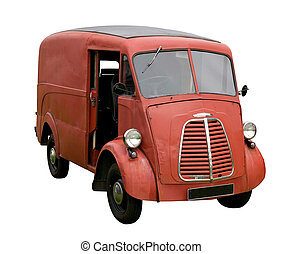 Old delivery van - Old battered delivery van, isolated on...