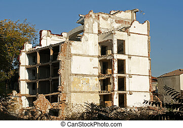 Old demolished building - Old demolished building. White...