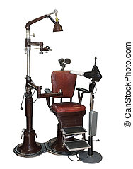 old dentist chair with equipment