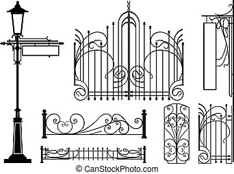 Old design elements of city streets. Silhouettes isolated on...