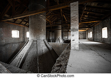 old desolate brewery attic of his, his chimneys