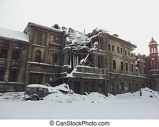 old destroyed building in the winter