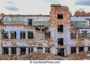 Old destroyed high-rise building