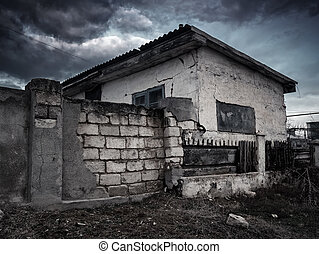 Old destroyed house.