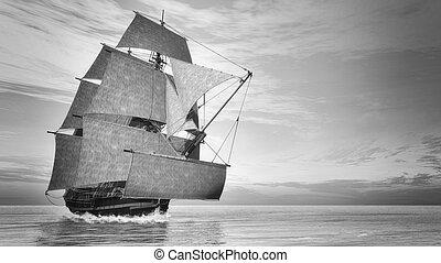 Old detailed ship HSM Victory, vintage style - 3D render - ...