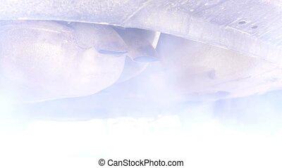 Old diesel car exhaust pipe, diesel cold start, smoke,...