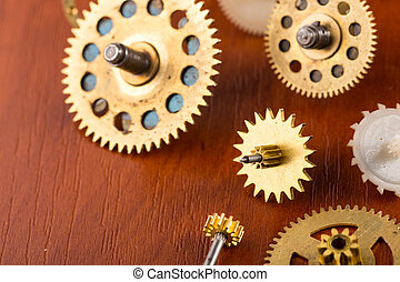 Old different gears on the table