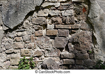 Old dilapidated concrete stone wall background