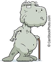 Old Dinosaur - A happy cartoon old dinosaur with a cane.