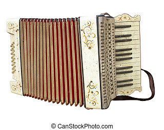 Old dirty accordion musical instrument isolated over white...