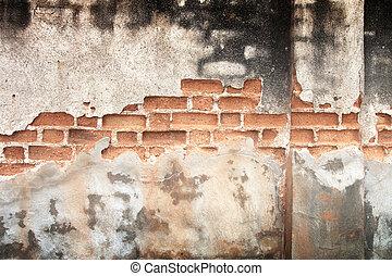Old dirty black brick wall