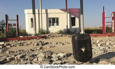 Old dirty gas station road 66. Abandoned gas station end of fuel oil the world apocalypse petrol slow motion video