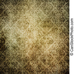 Old dirty paper background with vintage patterns.