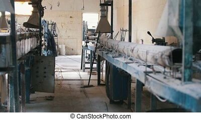 Old dirty plant - producing of fiberglass rods - composite...