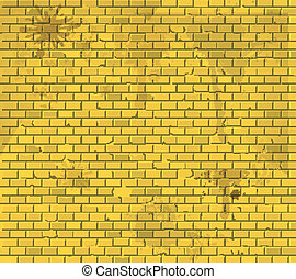 Old dirty yellow brick wall background