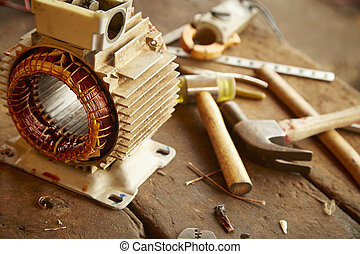 Old disassembled electric motor - Repair Old disassemble...