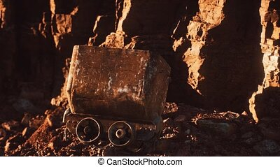 abandoned gold mine trolley used to cart ore during the gold...