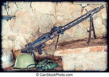 Old disused machine gun on display