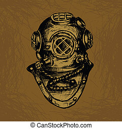 Old Diver Equipment. Conceptual Vector Illustration