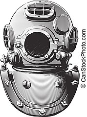 old diving helmet - detail of an old diving suit heavy brass...