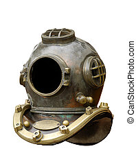 Old Diving Helmet - Antique diving equipment isolated with...