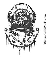 Old diving helmet.