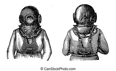 Old diving suit , black and white engraving - Engraving of...