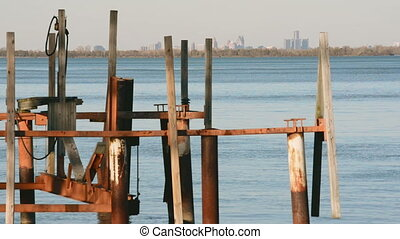 Old Docks on Detroit River Skyline - Downtown Detroit...