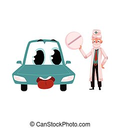 Old doctor giving pill to funny car character