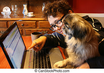 Old Dog, New Trick - Easy to use older laptop, even a dog...