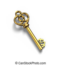 Old dollar shape treasure key in gold, isolated in white, 3D rendering