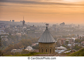 Old domes of Tbilisi, Georgia, bird's-eye view
