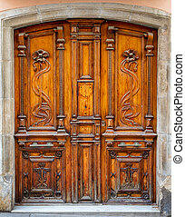 Beautiful old door in the city of Spain