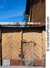 old door closeup of wooden house