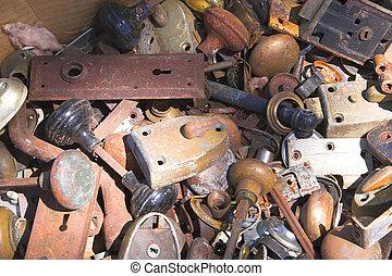 Old Door Hardware - Old deadbolt locks, door knobs and...