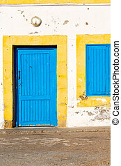 old door in morocco africa ancien and wall ornate blue -...
