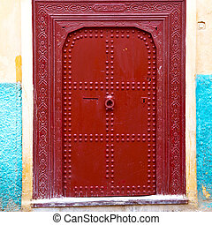 old door in morocco africa ancien and wall ornate brown -...