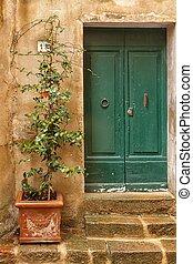 Old door in of building