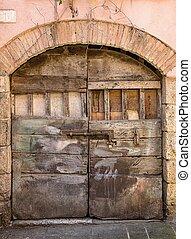 Old door in of old building