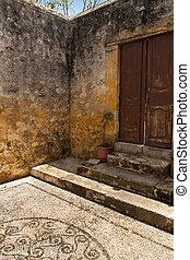 Old door in Old Town in Rhodes, Greece