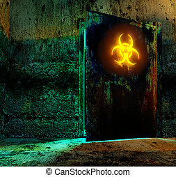 bio hazard danger material - Old door in storage bio hazard...