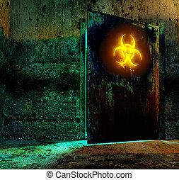 bio hazard danger material - Old door in storage bio hazard...