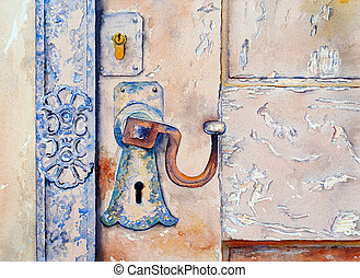 a watercolour painting of the lock and latch on an ancient door